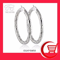 High Quality Stainless Steel Jewelry Big Circle Hollow Hoop Earrings with Textures E5147-5W50