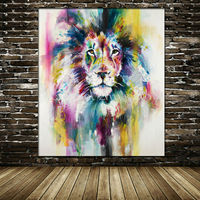 Hand Painted Water Color Lion Oil Painting On Canvas Modern Animal Paintings color Lion Wall Pictures For Living Room Home Decor