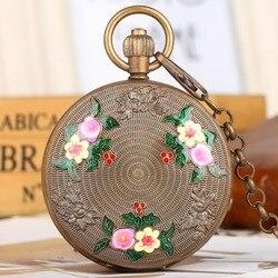 Tourbillon Antiken Stil Mechanische Taschenuhr für Männer Frauen, Reine Kupfer Skelett Tasche Uhren Blume Muster Retro Uhr