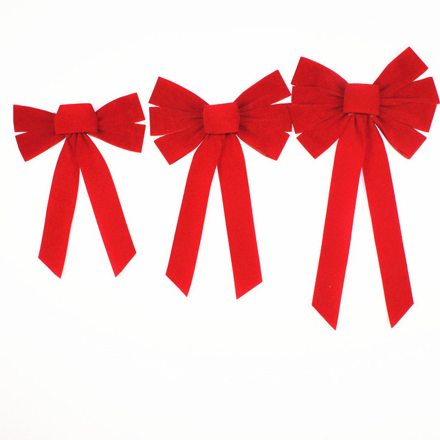 long red flock christmas bow knot christmas tree ornaments santa bow pendant ornaments tree christmas bowknot - Red Christmas Bows