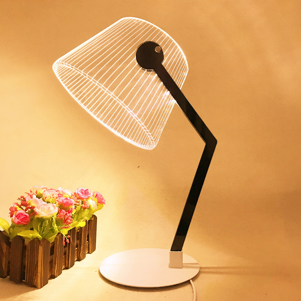 Nachtlampje 3d Effect Energiebesparing Drukknop Led Slaapkamer Thuis Acryl Decoratie Lezen Bureaulamp Woonkamer Stereo Vision