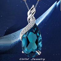Luxury Water Drop Light Blue Crystal Women 925 Sterling Silver Necklaces Pendants For Girlfriend Jewelry Gift