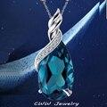 Gota de água de luxo mulheres luz azul cristal 925 colares da prata esterlina pingentes para jóias presente namorada CP080