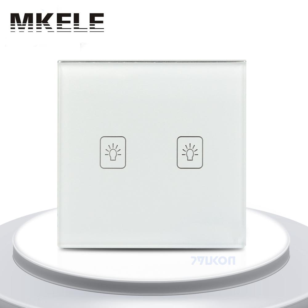 2 Gang 1 Way RF Control Light White Crystal Glass Panel Remote Touch Wall Switch UK Standard wall light touch switch 2 gang 2 way wireless remote control power light touch switch white and black crystal glass panel switch