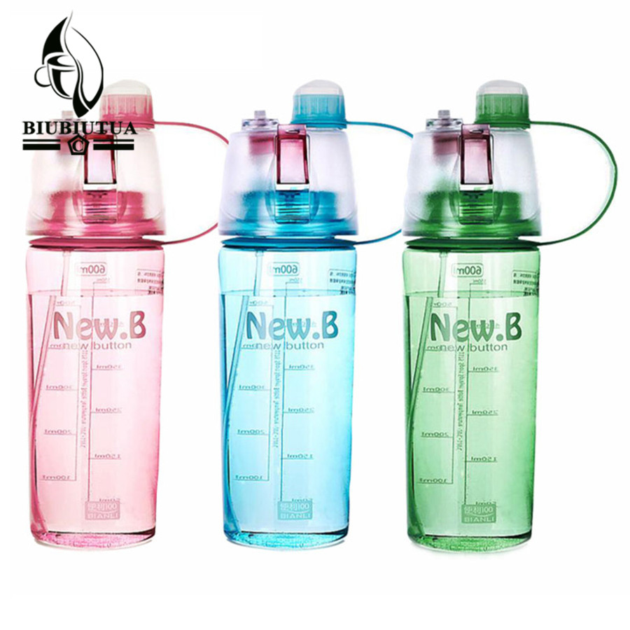 BIUBIUTUA 600ML 400ML Plastic Sports Spray Water Bottle Straw For Outdoor Bicycle Cycling Sports Gym Drinking
