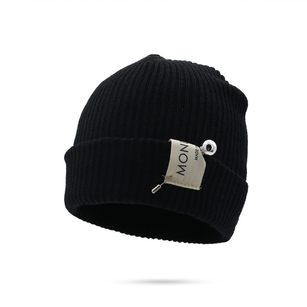 Black Knit Winter Hats For Men Women   Beanies   Hat Cotton Unisex Winter Hat Knitted   Skullies     Beanie   Warm Hat Female