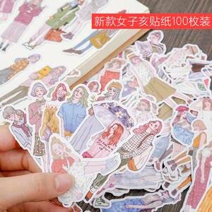 DIY Sticker Stationery Paper Scrapbooking School-Supply Girls Waterproof Cute 100pcs/Pack
