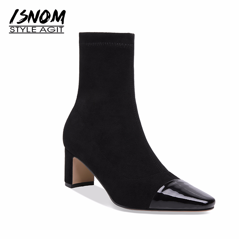 ISNOM High Heels Stretch Boots Women Cow Leather Socks Boots Shoes 2019 Fashion Female Shoes Square
