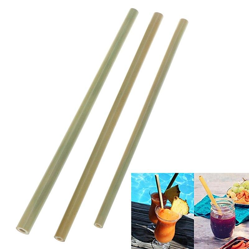 1 Stks 21/23 Cm Organische Bamboe Rietje Keuken Bar Servies Voor Party Verjaardag Bruiloft Biologisch Afbreekbaar Nartural Houten Rietjes Elegante Vorm