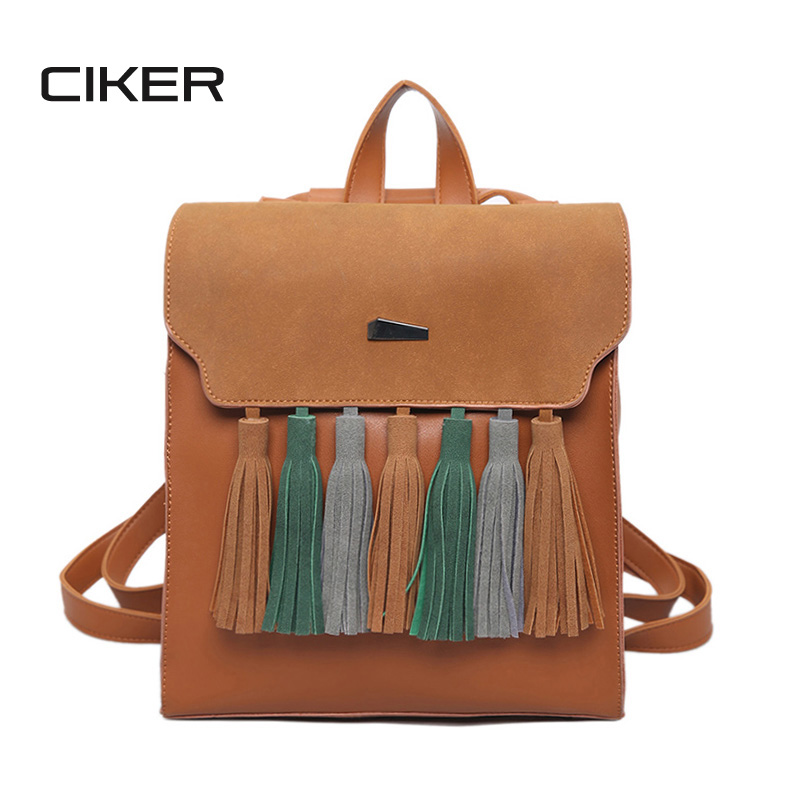 CIKER Fashion Tassel PU Leather Women Backpack Hit Color Square Vintage Backpacks For Teenage Girls Fashion