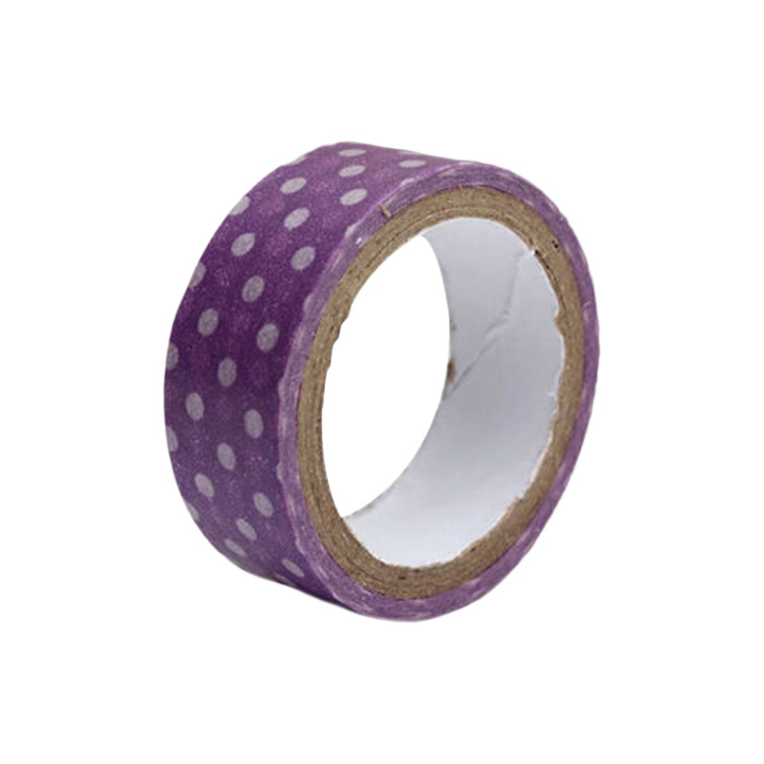 BLEL Hot 15mm Dot Print Washi DIY Masking Paper Roll Tape Decorative Adhesive Sticker ColorPurple