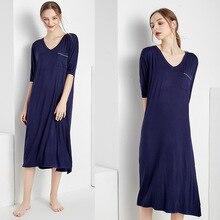 Oversize Lady Sleepshirts Loose Soft Modal Sleepwear Dress Women Nightgowns Long Nightwear  Indoor Home Lounge Wear