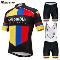 Spor ve Eğlence'ten Bisiklet Takımları'de Weimostar Kolombiya Bisiklet Takımı Bisiklet Jersey Seti Erkekler Yarış Spor Bisiklet Giyim Hızlı Kuru Bisiklet Giyim Yol MTB Bisiklet Giyim