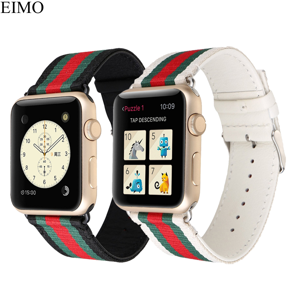 EIMO Nylon Leather Strap for Apple Watch Band 4 42mm 38mm Wrist Belt Bracelet watchband iwatch Series 4/3/2/1 Accessories Black leather for apple watch band 38mm 42mm butterfly buckle strap iwatch series 4 3 2 1 watchband replacement accessories wrist belt