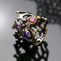 Devil Wild Fashion design Unique Black gold plated AAA Siam & Amethyst Cubic zirconia Hollow metal Cocktail rings for party