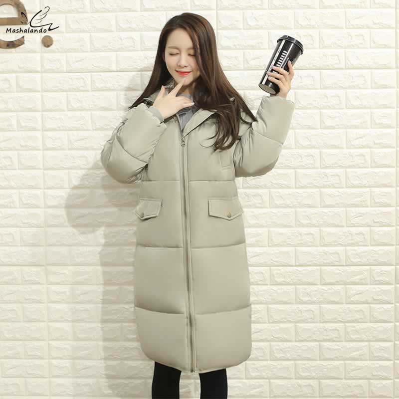 Plus Size 3XL Winter Coat Women Jacket Thick Parkas Long Cotton Padded Hooded Wadded Women's Winter Jacket Solid Large Outerwear linenall women parkas loose medium long slanting lapel wadded jacket outerwear female plus size vintage cotton padded jacket ym