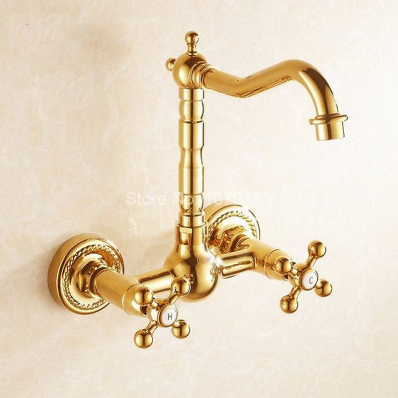 Gold Color Brass Wall Mounted Dual Cross Handles Swivel Spout Kitchen Sink Bathroom Basin Faucet Cold & Hot Mixer Tap agf010 golden brass kitchen faucet dual handles vessel sink mixer tap swivel spout w pure water tap