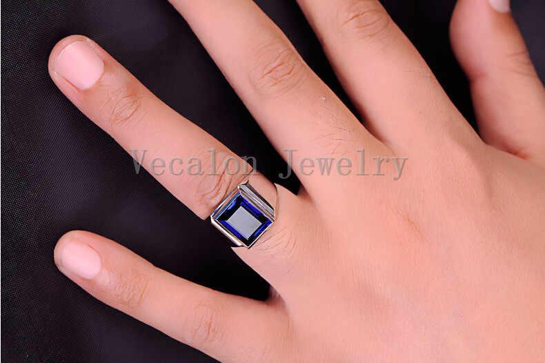 Vecalon แฟชั่นเครื่องประดับแหวนสำหรับชาย 8ct หิน 5A Zircon CZ 925 เงินแหวนนิ้วมือ
