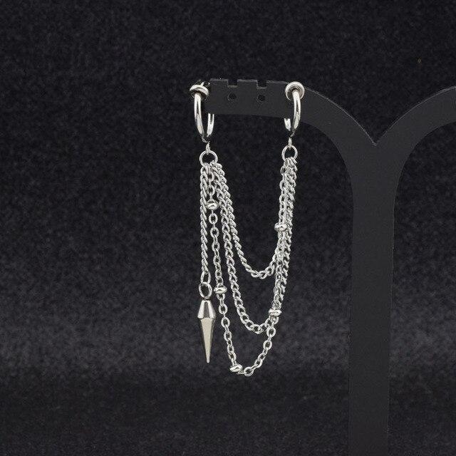 BTS V Stainless Steel Rock Tassel Chain Stud Earring Ear Clip  6