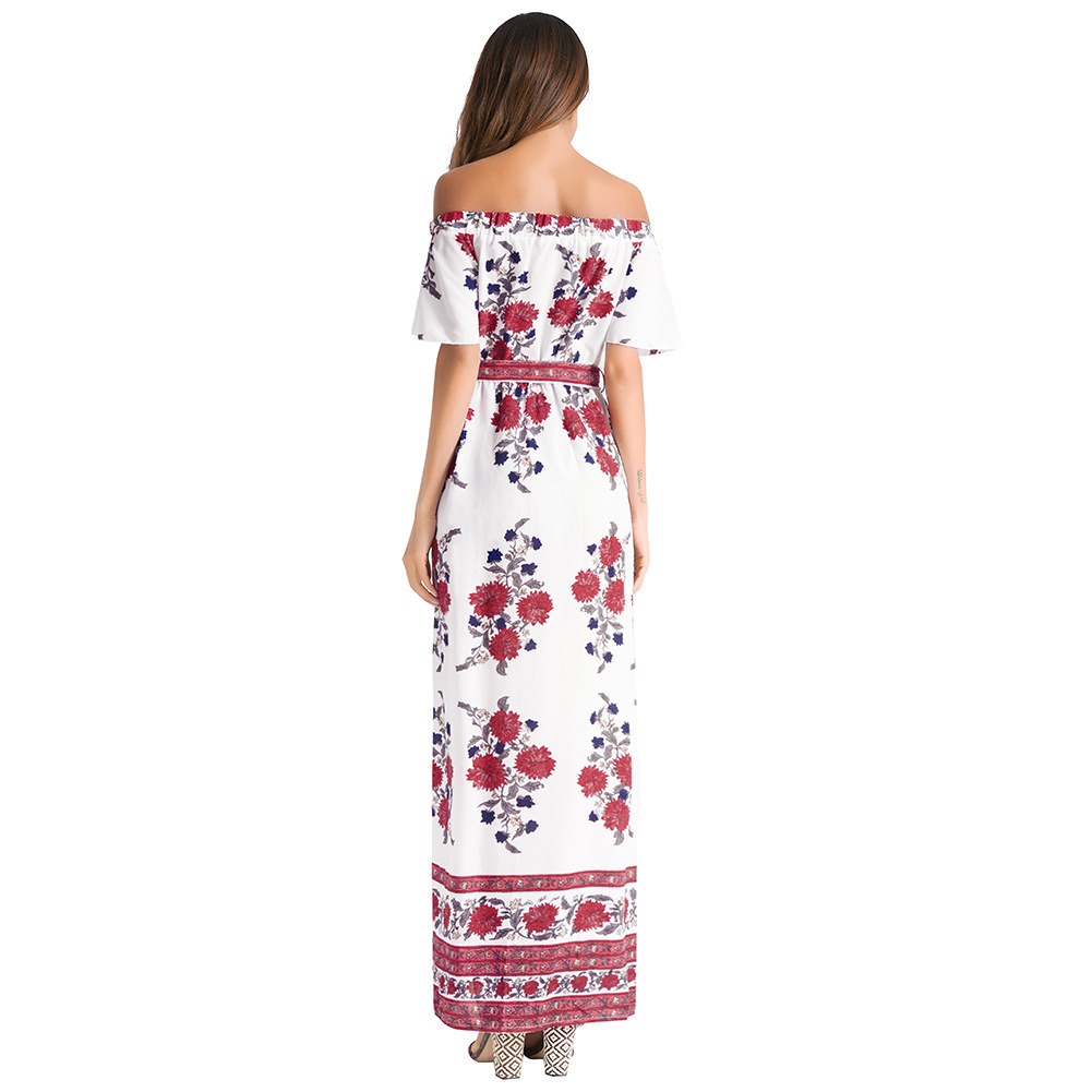 2018 Real Direct Selling Loose Print Short Vestido Longo Dress Women Europe And The Womens Dress Shoulder Halter Sexy Word