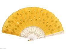Pretty Yellow Hand Held Folding Sequins Flower Lace Silk Wedding Decor Fan(China)