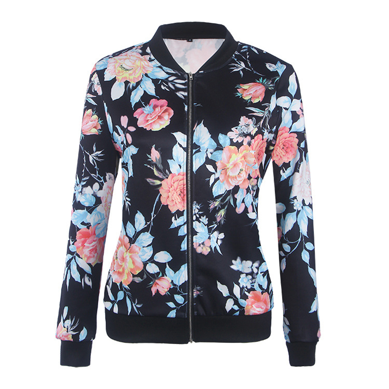 New Women Camouflage Floral   Jackets   Coats Casual   Basic     Jacket   Spring Autumn Flower Printed Fashion Coats