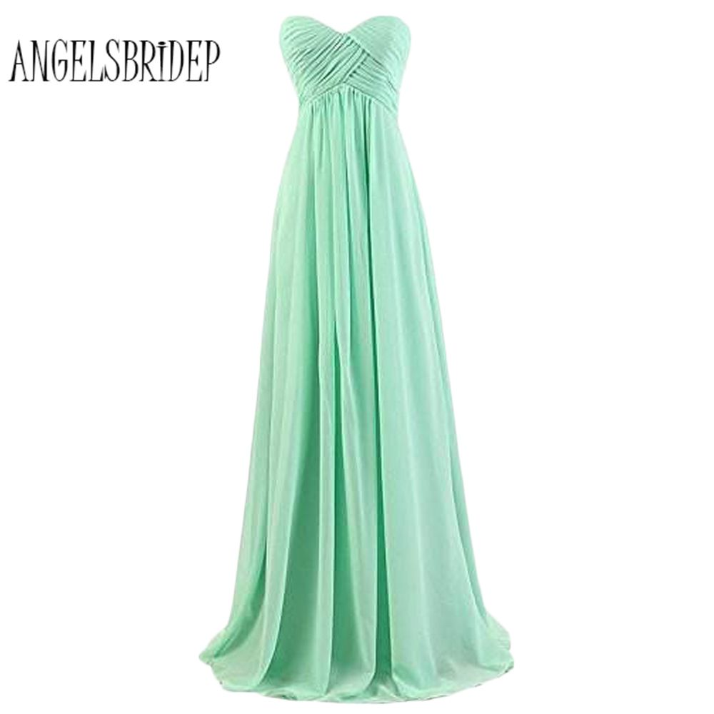 ANGELSBRIDEP Simple A Line Prom Dresses 2018 Strapless Mint Green Floor Length Women Party Dresses Evening Gowns Fast Shipping