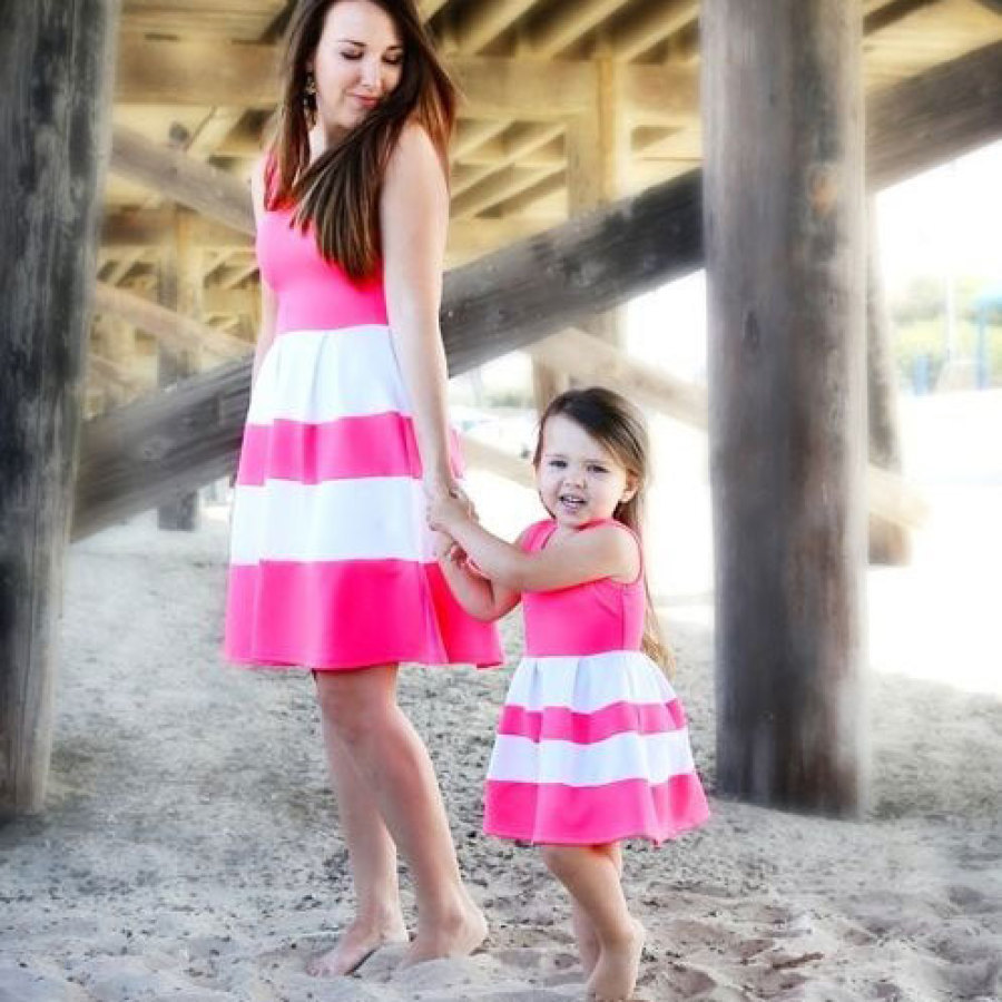 adsfay.com Mommy-and-me-family-matching-mother-daughter-striped-patchwork-dresses-mom-and-daughter-dress-kids-parent.jpg