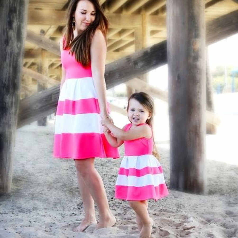 1190c55405266e ... Mommy and me family matching mother daughter striped patchwork dresses  mom and daughter dress kids parent