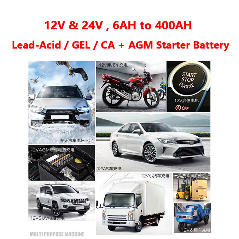 Monfara 12 V 24 V 車のオートバイの鉛酸カルシウム CA ゲル AGM ジャンプスタートストップバッテリー充電器液晶ディスプレイ 12 V 24 ボルト 100A 200A  グループ上の 自動車 &バイク からの バッテリー充電ユニット の中 3