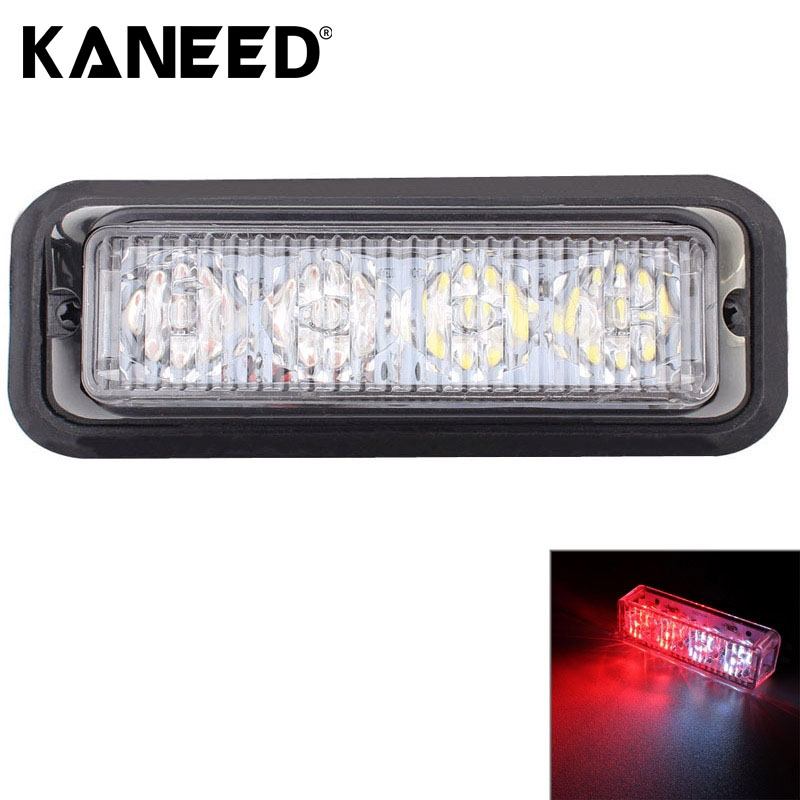12W 720LM 6500K 635nm 4-LED White + Red Light Wired Car Flashing Warning Signal Lamp DC12-24V Wire Length 95cm