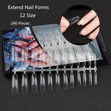 240Tips/Set Transparent False Nails for Extension Acrylic Nails Mold with Scale Tools Extend Nail Forms Nail Tips Gel Varnish