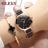 69c60b00fac OLEVS Simples Charme relógios de Pulso Das Senhoras Pulseira de Cerâmica  Relógios De Ouro Das Mulheres