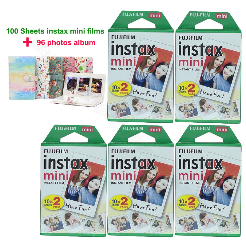 New Fujifilm Instax Mini 9 film 100 Sheets with 96 Photos Album for Fuji 7s 8 9 70 25 50s 90 SP-1 SP-2 SP-3 Instant Photo Camera 5 packs fuji fujifilm instax mini instant film monochrome photo paper for mini 8 7s 7 50s 50i 90 25 dw share sp 1 cameras