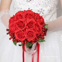 Real touch rose high simulation artificial flowers wedding bouquet for brides / bridesmaids new pink / red rose bridal bouquet