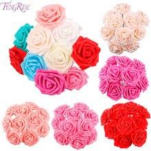 FENGRISE 10 Heads 8cm PE Foam Artificial Rose Flower DIY Wedding Bouquet Home Decorative Valentines Day Decor