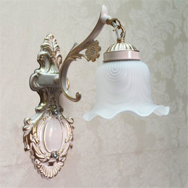 frosted glass shade wall lights vintage e27 plated iron wall lamp