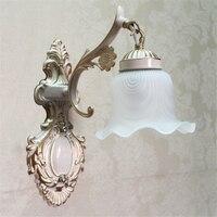 Sombra de vidro fosco luzes parede do vintage e27 chapeado ferro lâmpada de parede retro eurpean banheiro escada antigo lâmpada luminaria WLL-332