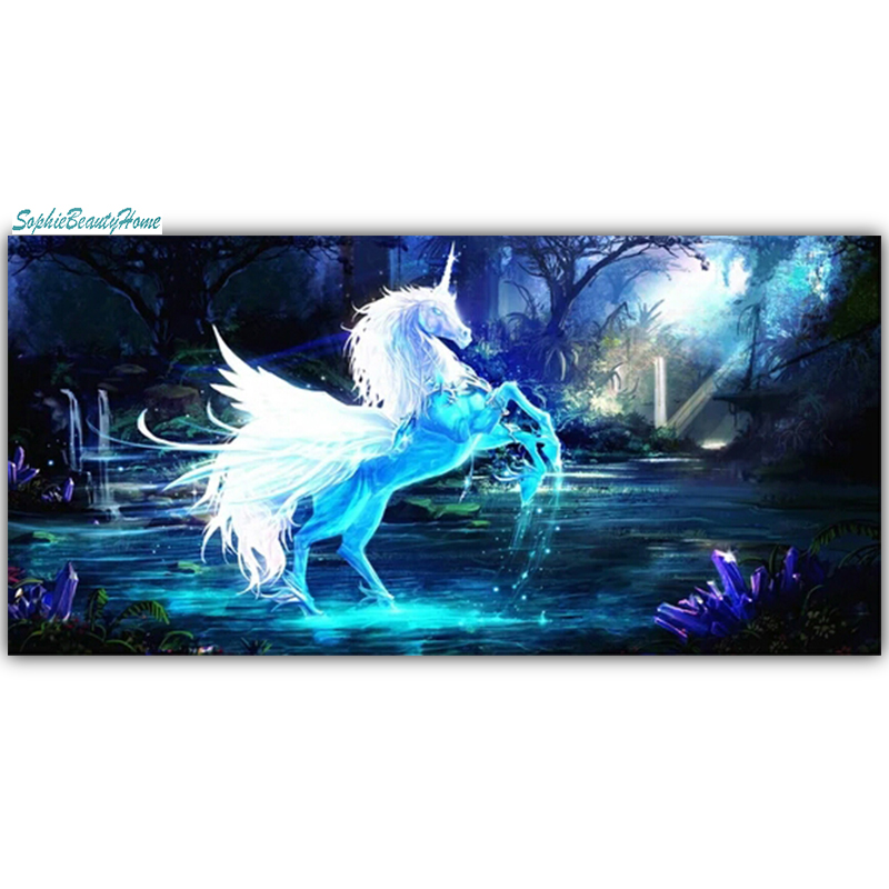 Sophie beauty home 5D DIY Diamonds Embroidery Night Horse Mosaic Cross stitch Wall Sticker Decoration Crafts