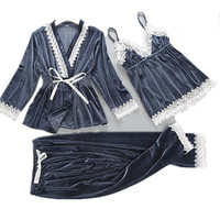 Women Velour Sleepwear Set 3 Pieces Long Sleeve Pajama Set Autumn Winter Pyjama Femme V neck Pijama Fashion Home Clothing