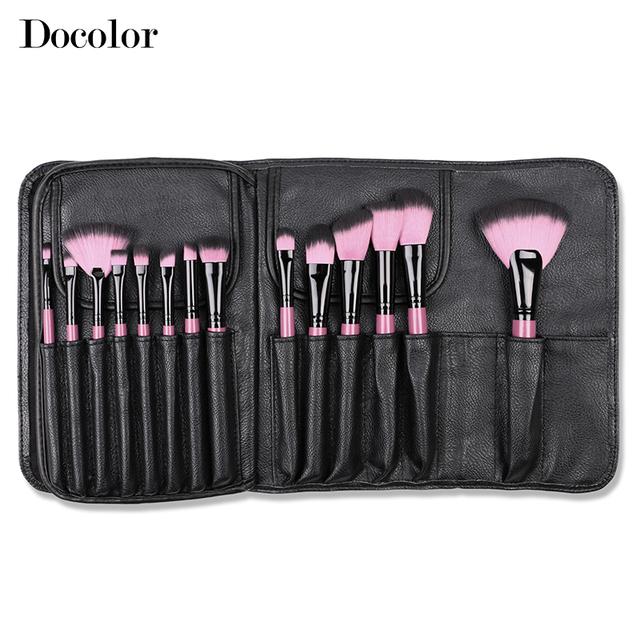 Docolor 22PCSS / Set mango de madera cepillo profesional del maquillaje del polvo de la fundación Eyeliner cepillos herramienta cosmética alta calidad Kit