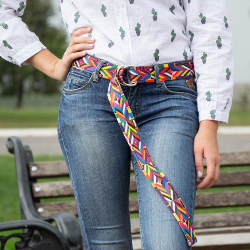 belt for women/women belt/fashion/nylon belts national bright pattern flower lace puzzle unique colorful belts young jean pasek