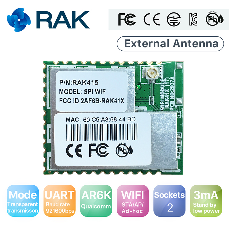RAK415 Low Power UART Wireless Wifi Module Serial TCP UDP IoT WiFi Module 2 Sockets Industrial Integrated Q126 long distance high power wireless power supply module wireless power wireless charging module wirelesspower