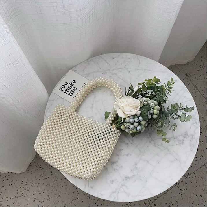 Nouveau-femmes Vintage Imitation perles sac à main printemps à la mode rétro Chic Top poignée sac femme petite taille perles classique élégant - 2