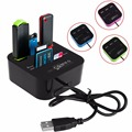 Mini 3 Portas USB 2.0 Hub Combo Multi Em 1 Card Reader para SD/TF/MMC/M2/MS/MP