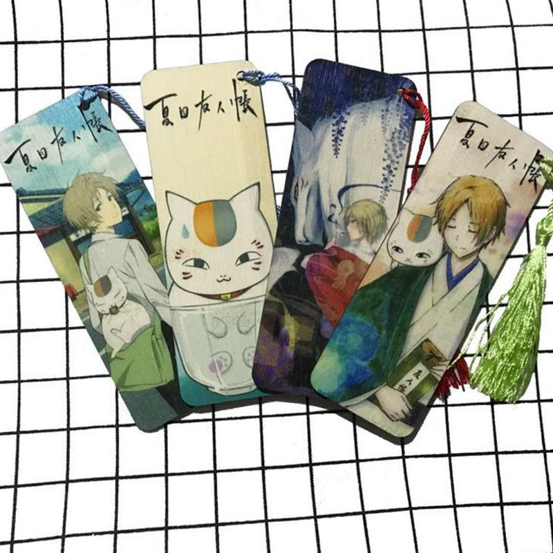 1 Pcs Hot Sale Natsume Yuujinchou Cartoon Creative Bamboo Material Bookmarks Gift Cat Book Page With Tassel Student Stationery