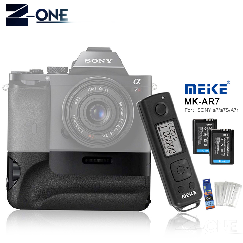 Meike MK-AR7 2.4G Wireless Remote System Vertical Battery Grip Holder With 2pcs NP-FW50 Battery for Sony A7/A7R/A7S as VG-C1EM meike mk ar7 2 4g wireless remote system vertical battery grip holder with 2pcs np fw50 battery for sony a7 a7r a7s as vg c1em