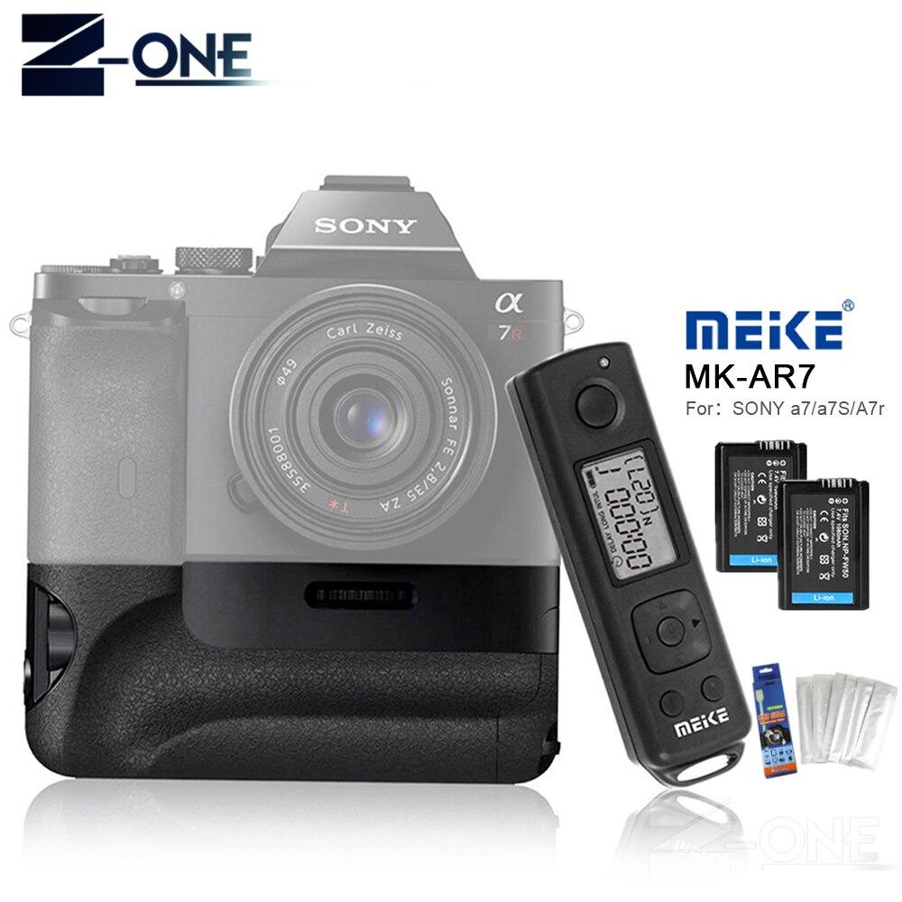 Meike MK-AR7 2.4g A Distanza Senza Fili Sistema Verticale Battery Grip Holder Con 2 pz NP-FW50 Batteria per Sony A7/ a7R/A7S come VG-C1EMMeike MK-AR7 2.4g A Distanza Senza Fili Sistema Verticale Battery Grip Holder Con 2 pz NP-FW50 Batteria per Sony A7/ a7R/A7S come VG-C1EM