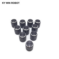 potentiometer knob 10pcs 15*17mm aluminum alloy potentiometer 15*17 knob rotation switch volume control knob black (1)