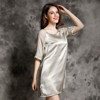 YIYUAN Brand Real Silk Women Nightgowns Summer Simple Nightdress Sexy 100 Silk Sleeping Dress Fashion Trend
